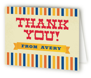 Greatest Circus Children's Birthday Party Thank You Cards