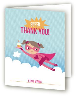 Super Birthday Girl Children's Birthday Party Thank You Cards