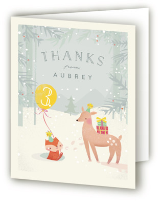 Winter Children's Birthday Party Thank You Cards