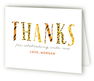 Zoo Children's Birthday Party Thank You Cards