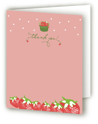 Strawberry Love Children's Birthday Party Thank You Cards