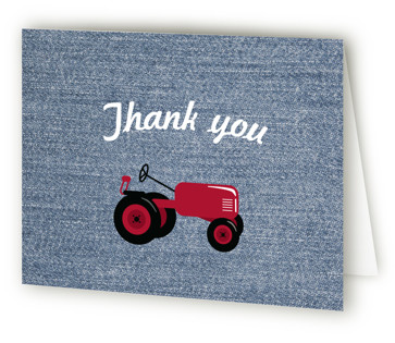 A Tractor Pull Children's Birthday Party Thank You Cards