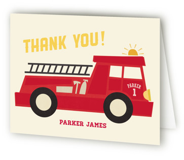 Five Alarm Children's Birthday Party Thank You Cards