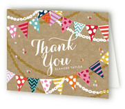 Garland Celebration Childrens Birthday Party Thank You Cards