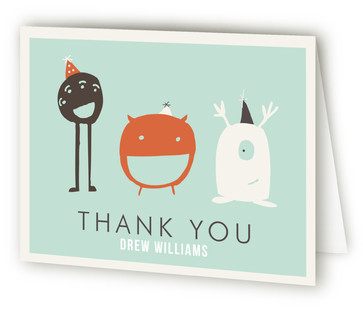 Monster Party Children's Birthday Party Thank You Cards