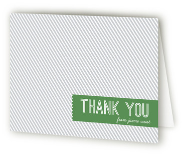 Modern Banner & Stripes Children's Birthday Party Thank You Cards