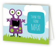 Little Monster Bash Childrens Birthday Party Thank You Cards