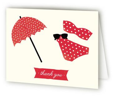 Polka Dot Swim Children's Birthday Party Thank You Cards