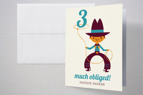 Lasso Cowboy Childrens Birthday Party Thank You Cards