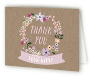 Garden Wreath Children's Birthday Party Thank You Cards