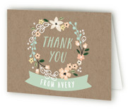 Garden Wreath Childrens Birthday Party Thank You Cards