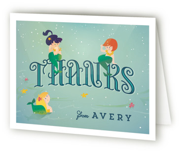 Mermaids Children's Birthday Party Thank You Cards