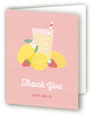 Pink Lemonade Children's Birthday Party Thank You Cards