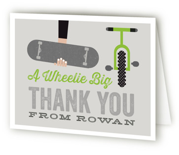 Wheels Children's Birthday Party Thank You Cards