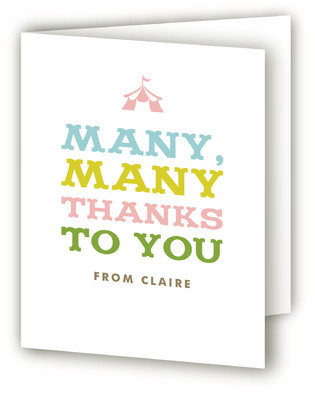 Circus Tent Children's Birthday Party Thank You Cards