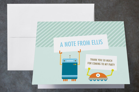 Robot Friends Childrens Birthday Party Thank You Cards