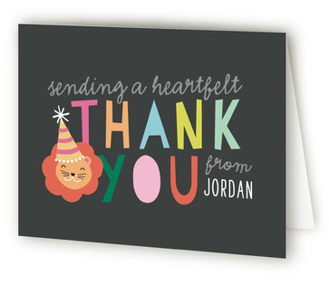 Party Hat Animals Children's Birthday Party Thank You Cards