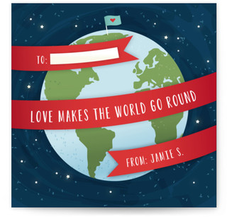 Love Makes The World Go Round Classroom Valentine's Day Cards