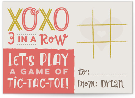 Tic-Tac-Toe Xoxo Classroom Valentine's Day Cards