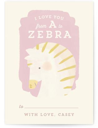 Valentine Zoo Zebra Classroom Valentine's Day Cards