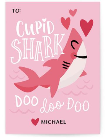 Cupid Shark Classroom Valentine's Day Cards