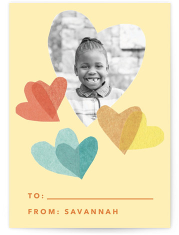 flittering hearts Classroom Valentine's Day Cards
