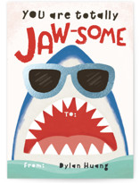 Totally Jaw-some Shark Foil-Pressed Classroom Valentine's Day Cards