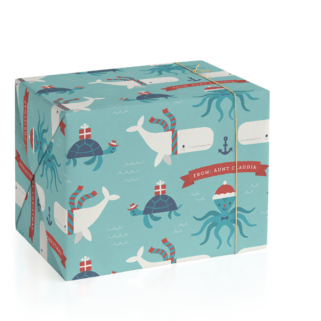 Under The Sea Christmas Personalized Wrapping Paper