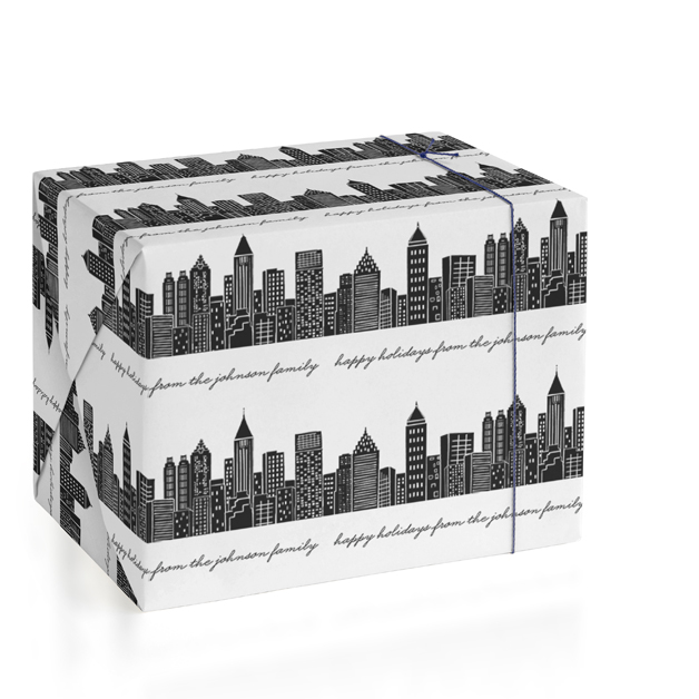 Cityscape Personalized Wrapping Paper