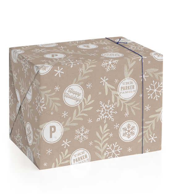 Snowflake and Stamp Personalized Wrapping Paper