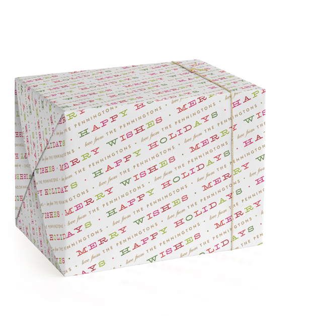 Merry Type Personalized Wrapping Paper