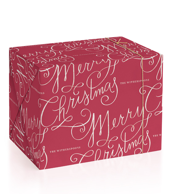 Merry Calligraphy Personalized Wrapping Paper