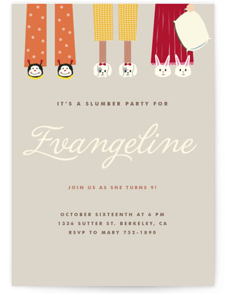 Slipper Buddies Children's Birthday Party Online Invitations