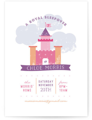 A Royal Sleepover Children's Birthday Party Online Invitations