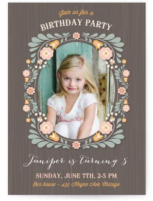 Folksy Flower Birthday Children's Birthday Party Online Invitations