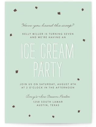 Mint Chip Children's Birthday Party Online Invitations