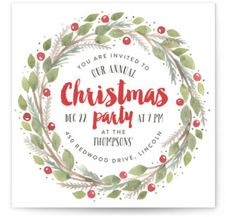 Christmas Party Wreath Christmas Online Invitations