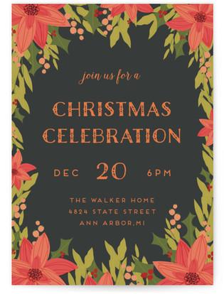 Poinsettia Frame Christmas Online Invitations