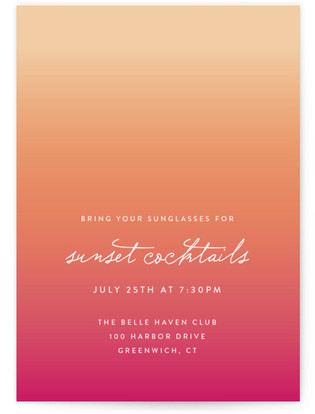 Sunset Cocktails Cocktail Party Online Invitations