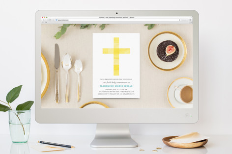 Cubed Cross First Holy Communion Online Invitations