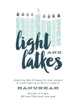 Light & Latkes Hanukkah Online Invitations