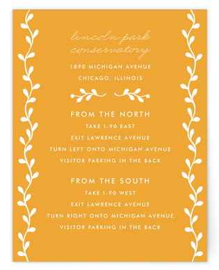 Floral Initials Directions Cards