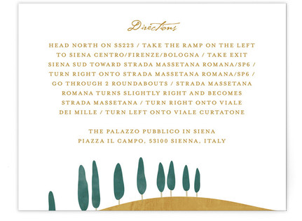 Tuscan Hill Directions Cards