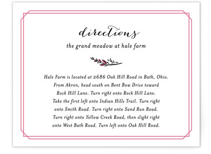 Grand Meadow Directions Cards