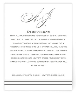 Script Monogram Directions Cards