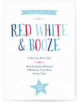 Red White & Booze Fourth of July 4th of July Online Invitations