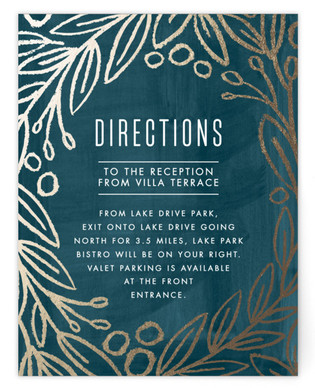 Midnight Foliage Foil-Pressed Direction Cards