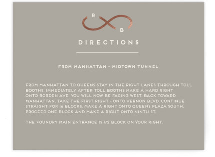 Monogrammed Infinity Foil-Pressed Direction Cards