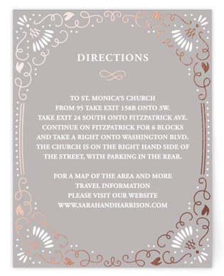 Flora Frame Foil-Pressed Direction Cards