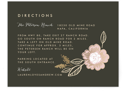 Botanical Wreath Foil-Pressed Direction Cards